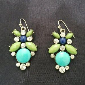 Jewelry - Earrings turquoise blue, green, rhinestone